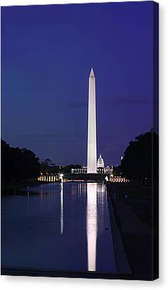 Canvas Print featuring the photograph Washington Monument At Sunset by Metro DC Photography