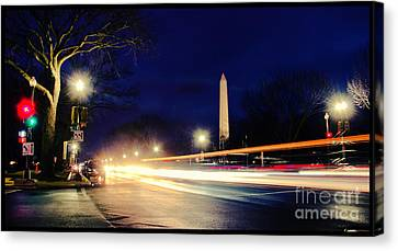 Washington Monument On A Rainy Rush Hour Canvas Print