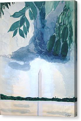 Canvas Print featuring the painting Washington Monument by Rod Ismay