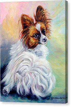 Watchful - Papillon Dog Canvas Print by Lyn Cook