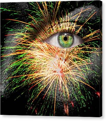 Watching Fireworks Canvas Print by Semmick Photo