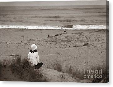 Watching The Ocean In Black And White Canvas Print by Henrik Lehnerer
