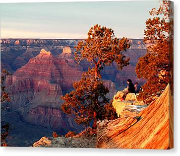 Canvas Print featuring the photograph Watching The Sun Set On The Grand Canyon by Cindy Wright