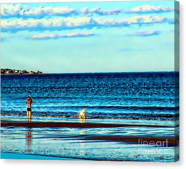 Water Dog From Dog Park Beach Series Canvas Print