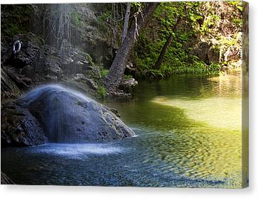 Water Falling On Rock Canvas Print