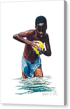 Water Game Canvas Print by Gregory Jules