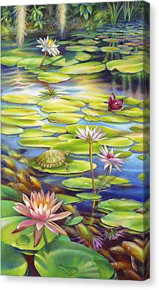 Water Lilies At Mckee Gardens I - Turtle Butterfly And Koi Fish Canvas Print by Nancy Tilles