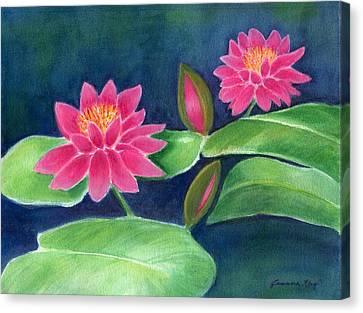 Water Lilies  Canvas Print by Jeanne Kay Juhos