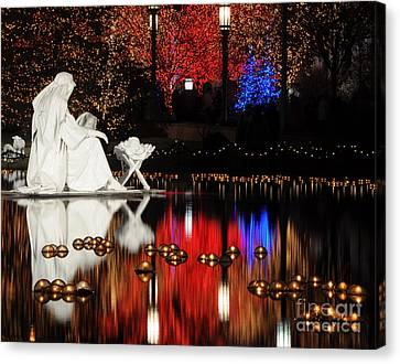 Water Christmas Nativity Scene At Night Canvas Print by Gary Whitton
