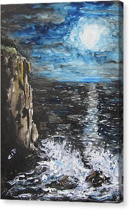 Water Under The Moonligt Canvas Print by Cheryl Pettigrew
