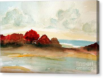 Watercolor Bay Canvas Print by Julie Lueders