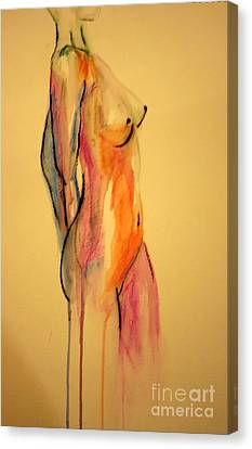 Canvas Print featuring the painting Watercolor Nude by Julie Lueders