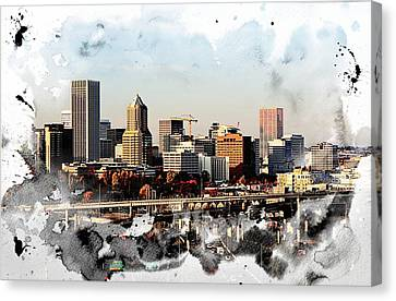 Watercolor Of Downtown Portland Canvas Print by Cathie Tyler