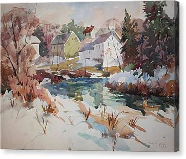 Millbury Canvas Print - Watercolor by Peter Spataro