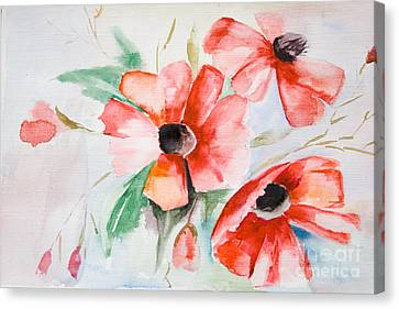 Watercolor Poppy Flower  Canvas Print