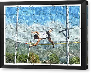 Watercolor Puzzle Design Of Pole Vault Jump Canvas Print by John Vito Figorito