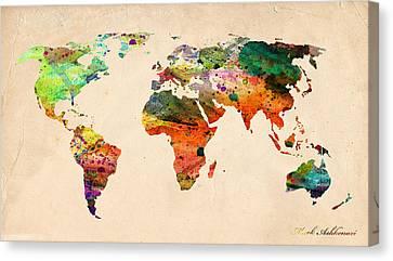 Watercolor World Map  Canvas Print by Mark Ashkenazi