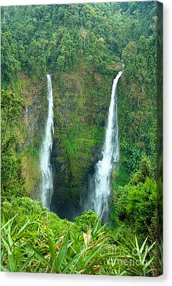 Canvas Print featuring the photograph waterfall in Laos by Luciano Mortula