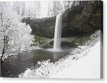 Waterfall In Winter Canvas Print by Craig Tuttle