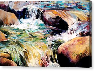 Canvas Print featuring the painting Waterfall Maui by Rae Andrews