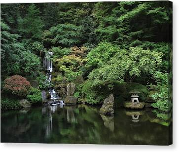 Waterfall - Portland Japanese Garden - Oregon Canvas Print by Daniel Hagerman