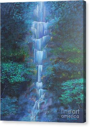 Canvas Print featuring the painting Waterfall Symphony by Stacey Zimmerman