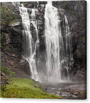 Waterfalls Over A Cliff Norway Canvas Print by Keith Levit