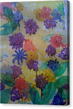 Canvas Print featuring the painting Waterflowers by Judi Goodwin