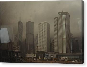 Waterfront Skyline Of Hong Kong Island Canvas Print by Justin Guariglia