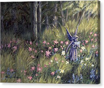 Canvas Print featuring the painting Watering The Flowers by Kurt Jacobson