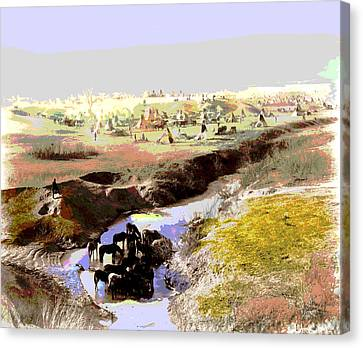 Watering The Horses Canvas Print by Charles Shoup