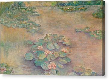 Waterlilies At Dusk Canvas Print by Rita Bentley