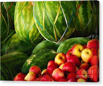 Watermellons And Apples Canvas Print by Elaine Manley