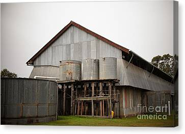 Watertanks And Shed Canvas Print by Therese Alcorn