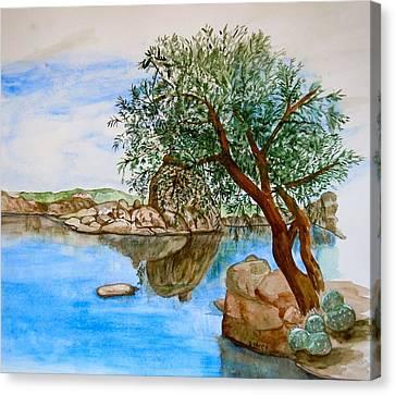 Watson Lake Prescott Arizona Peaceful Waters Canvas Print by Sharon Mick