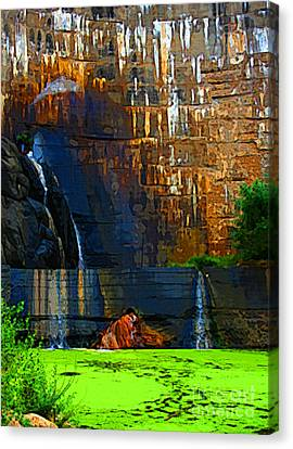 Watson Lake Waterfall Canvas Print by Julie Lueders