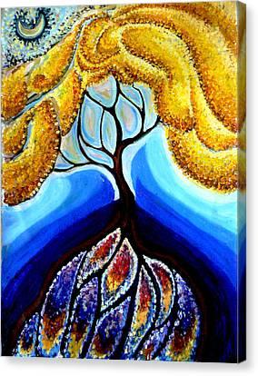 Wattle Or Acacia Tree And Deep Rainbow Pool Canvas Print by Helen Duley