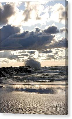 Wave Crashing Into Jetty On Lake Michigan Canvas Print by Christopher Purcell