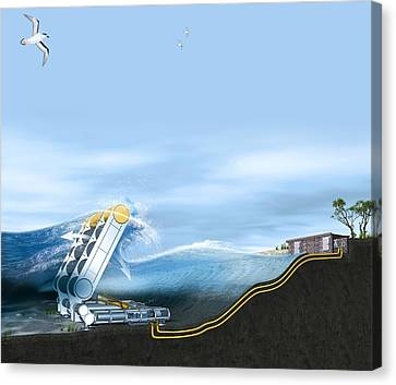 Wave Energy Converter, Artwork Canvas Print by Claus Lunau