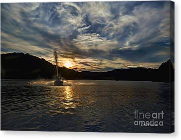 Wave Runner On Lake Evening Canvas Print by Dan Friend