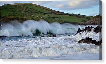 Waves In Dingle Canvas Print by Barbara Walsh