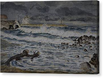Canvas Print featuring the painting Waves On The Pier by Rob Hemphill