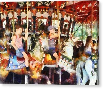 Waving Hi From The Merry-go-round Canvas Print by Susan Savad