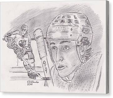 Canvas Print featuring the drawing Wayne Gretzky-the Great One by Chris  DelVecchio