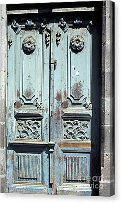 Canvas Print featuring the photograph Weathered Quito Door Ecuador by John  Mitchell