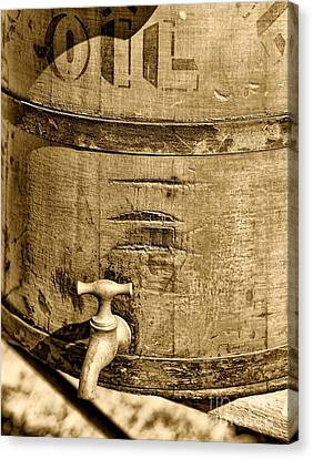 Sepia Vintage Farmhouse Canvas Print - Weathered Wooden Bucket In Sepia by Paul Ward