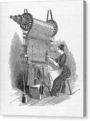Weaving Loom Canvas Print by �science, �industry & Business Librarynew York Public Library