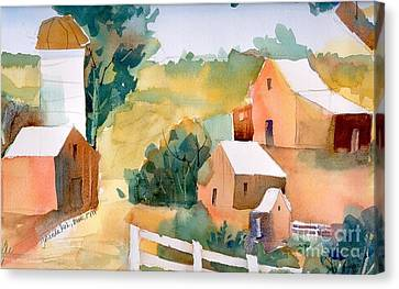 Canvas Print featuring the painting Webster Barn by Yolanda Koh