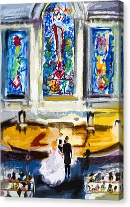 Wedding Day At Second Presbyterian Church Charleston Sc Canvas Print by Ginette Callaway