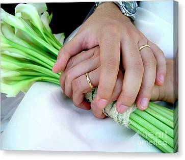 Nuptials Canvas Print - Wedding Rings by Carlos Caetano